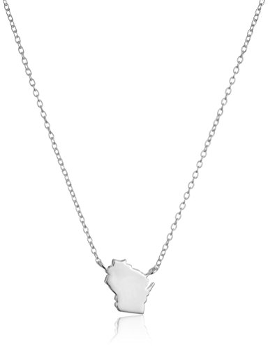 "Sterling Silver Stationed Mini State Wisconsin Pendant Necklace, 16""+2"" Extender"
