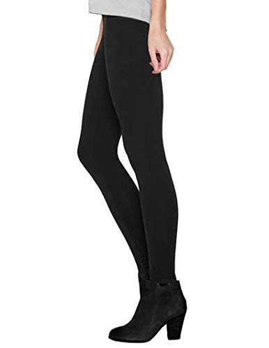 Matty M Ladies' Legging, Thicker Material, Wide Waist Band (Black, -