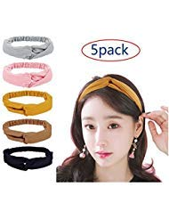 Women Headbands Elastic Turban Head wraps, 5 Pack Fashion Hair Band Accessories for Women and Girls - Perfect for Yoga or Fashion, Running, Workout or Travel. -