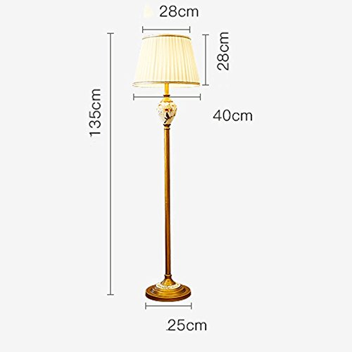 DYY American Wrought Iron Floor Lamp, Ceramic Accessories, Hand-painted Flowers And Birds Pattern, Linen Fabric Shade, Retro Bedroom Living Room Bedside Lamp (Color : C)