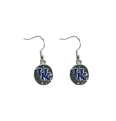Nitro USA NCAA Kentucky Wildcats Womens Collegiate Logo Hammered Circle Frenchwire Earrings, Silver, One Size