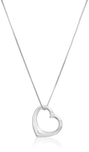 Sterling Silver Open Medium Heart Pendant Necklace, 18""