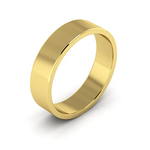 18K Yellow Gold men's and women's plain wedding bands 5mm flat, 4 by i Wedding Band