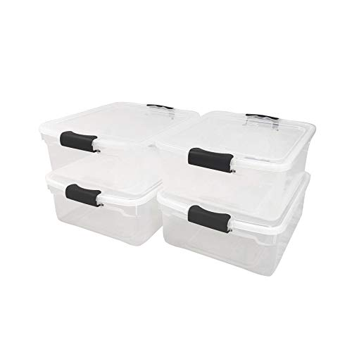 Homz 3420CLGRDC.04 Clear storage container with lid, 15.5 Quart (4 Pack), Grey, 4 Sets