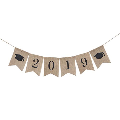 2019 Graduate Banner Decorations Graduation Burlap Bunting Banner Linen Hanging Garland Accessory(2019 Black Digital Bachelor -