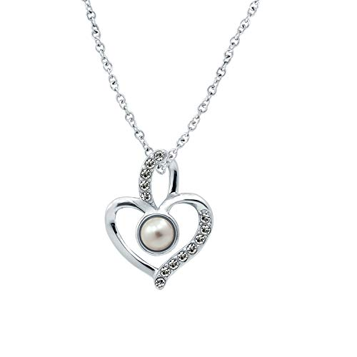 Swarovski Crystal Solitaire Heart - J'ADMIRE Swarovski Crystal White Pearl June Birthstone Heart Pendant Necklace, Platinum Plated Sterling Silver
