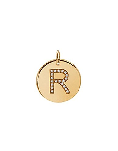 diamond initial disc pendant, Zoe Lev Jewelry