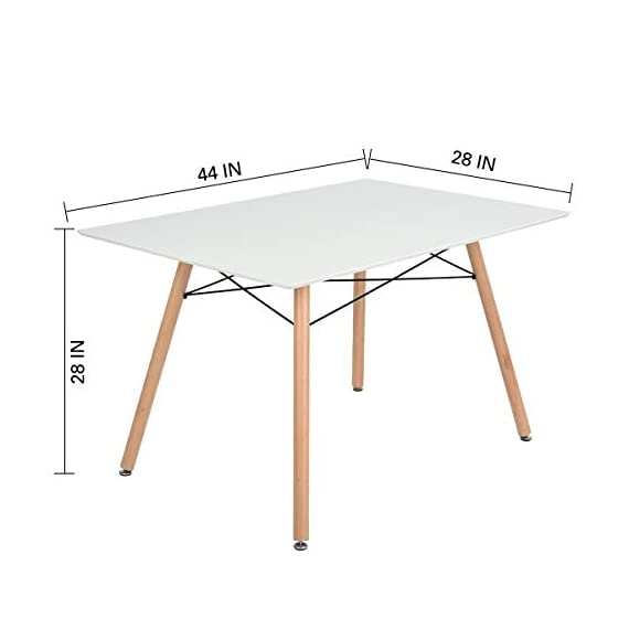 """GreenForest Dining Table Wood Top and Legs Modern Leisure Coffee Table Home and Kitchen (44""""x28 x28, White) - DECENT CONSTRCTION & MODERN STYLE: Dining table with rectangular MDF top and the iconic base of four legs gives the table a bright and modern appearance. It's practical and stylish. RIGHT SIZE & EASY TO CLEAN: Right size of the rectangular dining table for small intimate spaces,like kitchen; lounge or balcony,sturdy and pretty.Easy to clean as well. SPACIOUS & COMFORTABLE: Dining table with the dimension of the rectangular top: 44inch x 28inch (L x W) and the height: 28inch. - kitchen-dining-room-furniture, kitchen-dining-room, kitchen-dining-room-tables - 31lwn67VjKL. SS570  -"""