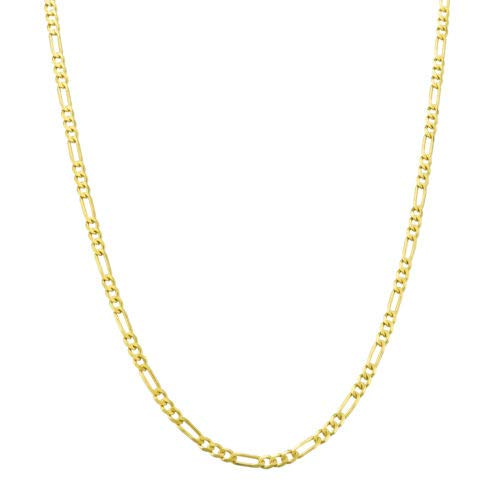 14K Yellow Gold 3.5mm Figaro Link Chain Necklace- Made In Italy- Multiple Lengths Available (26.0) ()