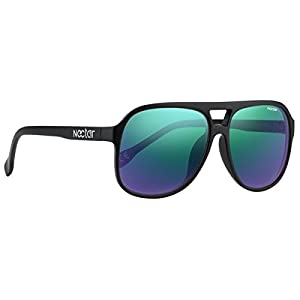 Classic Black Plastic Aviator Sunglasses - Blue Green Mirror Polarized Lenses & UV Protection - The Dank by NECTAR
