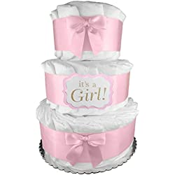 Pink It's a Girl 3-Tier Diaper Cake - Baby Shower Gift - Centerpiece