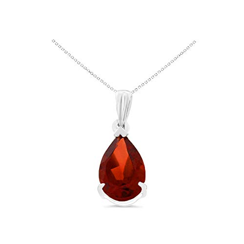 14K White Gold 6 x 8 mm. Pear Shaped Genuine Natural Garnet Pendant With Square Rolo Chain - Necklace Square Garnet