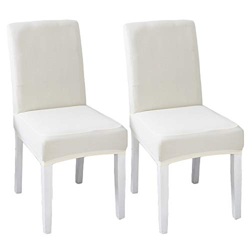 LINENLUX Velvet Spandex Fabric Stretch Dining Room Chair Slipcovers Home Decor (Pack of 2, B-Creamy White)