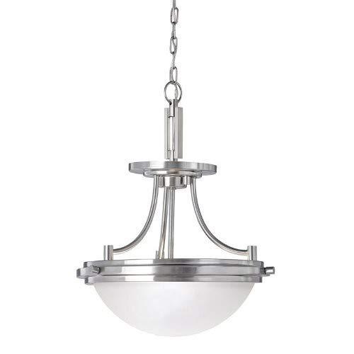 (Sea Gull Lighting 77660-962 Winnetka Two-Light Semi-Flush Convertible Pendant Hanging Modern Light Fixture, Brushed Nickel Finish)