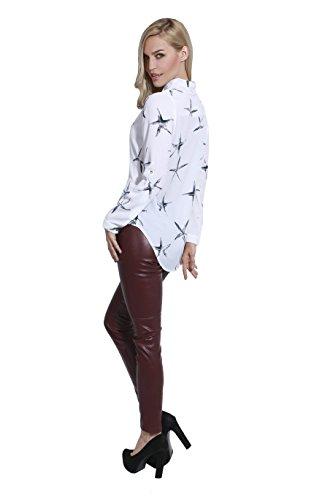 adam & eve® - Estrella de las mujeres impreso arco nudo cuello de manga larga de la camisa de las mujeres ocasionales Blanco