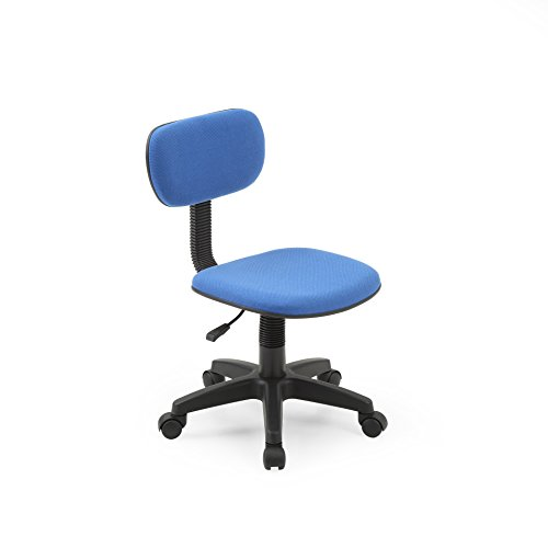 Hodedah Armless, Low-Back, Adjustable Height, Swiveling Task Chair with Padded Back and Seat in Blue