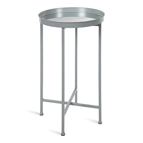 Kate and Laurel Celia Round Metal Foldable Accent Table with Mirror Tray Top, Gray (Tables Top Tray)