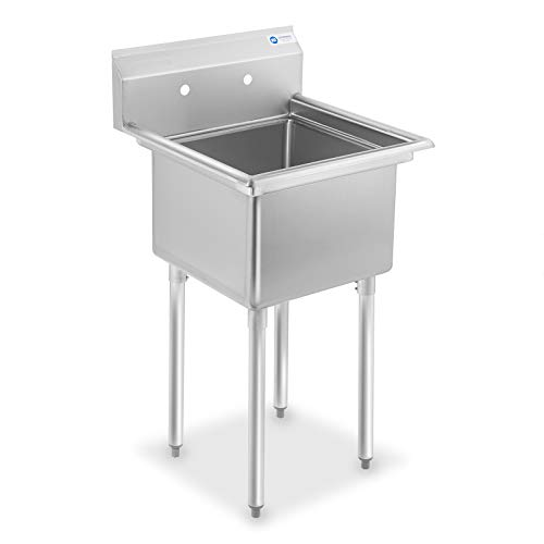 GRIDMANN 1 Compartment NSF Stainless Steel Commercial Kitchen Prep & Utility Sink - 23.5 in. Wide (1 Steel Stainless)