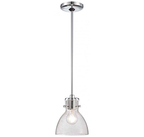 Minka Lavery 2244-77 1 Light Pendant in Chrome Finish w/ Clear Seeded Glass