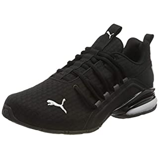 PUMA Men's Axelion Sneaker, Black White, 11.5 M US