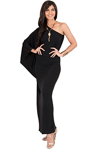 KOH KOH Plus Size Womens Long One Off the Shoulder Evening Cocktail Bridesmaid Wedding Guest Summer Formal Flowy Elegant Sexy Gown Gowns Maxi Dress Dresses for Women, Black XL 14-16 (2)