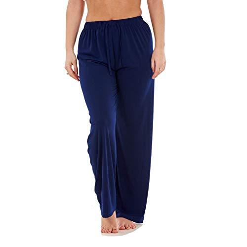 WUAI-Women Casual Home Wear Elastic Waist Loose Fit Comfy Straight Pants(Navy,Large (Chino Pant Andrew Pleated)
