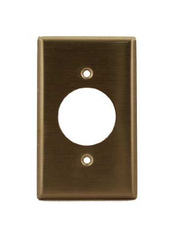 Leviton 84020-40 1-Gang Locking 1.60 Inch Dia. Device Receptacle Wallplate, Standard Size, Device Mount, Stainless Steel (Leviton Locking Outlet)