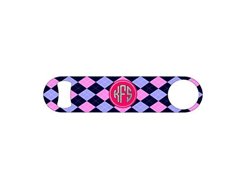 Green and Pink Plaid Monogram Bottle Opener / Bar Blade By B