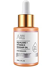 100% Organic Squalane + Vitamin E Rosehip Oil Moisturizer for Face Scar-Reducer ,Hydrate, Reduce Acne Scars and Stretch Marks, Wrinkles for Smoother, Softer Skin. 1 fl. Oz.