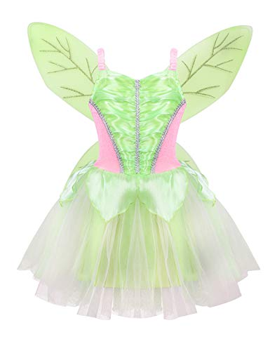 (iiniim Kids' Girls' Tinkerbell Dress Costumes with Fairy Tinker Wings Halloween Party Sleeveless Glittery Mesh Tutu Dress Tea Green 6-8)