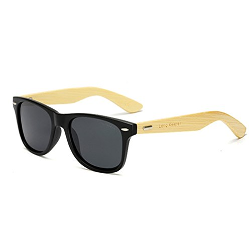 LongKeeper Polarized Bamboo Wood Arms Sunglasses for Women Men With Box (Black, - Expensive Men Sunglasses