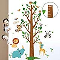 decalmile Tree and Animals Height Chart Kids Wall Decals Monkey Lion Owls Wall Stickers Baby Nursery Childrens Bedroom…