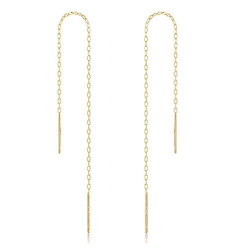 (2pcs 14k Gold on Sterling Silver Cute Ear Threads Long Chain Dangle Bar Earrings | 4 inch Drop Earring Threader Jewelry Findings SS339-4)