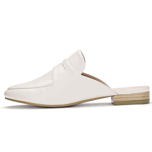 Allegra K Kvinna Backless Slip-on Dagdrivare Mulor Ljus Beige