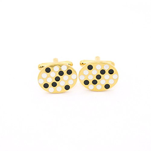 Ferrecci Goldtone Black White Oval Cuff Links With Jewelry - Gold Tone Cufflinks White
