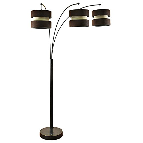 StyleCraft Modern Bronze 3 Arm Standing Arc Floor Lamp with Brown Custom Shades - 3 Arms Arch Lamp