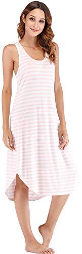 NEIWAI Women's Sleep Dress Long Bamboo Nightgowns Sleepwear Pink White Stripe L