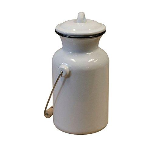 Metal Enamelware White Decorative Milk Jug with Black Trim -