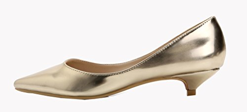 Katypeny Women's Slip On Pointed Toe Low Kitten Mid Low Heel Work Pumps Court Shoes Patent Leather Or Suede Gold Patent Pu Leather u5zsbXAA
