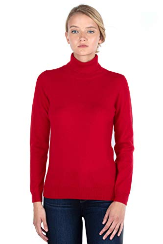 Authentic Women Sweater Dress (JENNIE LIU Women's 100% Pure Cashmere Long Sleeve Pullover Turtleneck Sweater (S, Red))