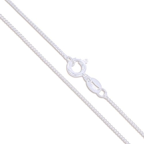 (Sterling Silver Box Chain 1mm Genuine Solid 925 Italy Classic New Necklace 16