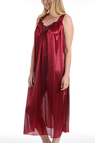 Ezi Women's Satin Silk Sleeveless Lingerie Nightgowns,Red,M