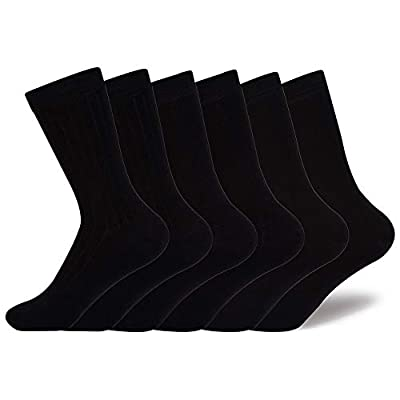 Enerwear 6P Pack Women's Aloe Infused Modal Dress Socks (US 9-11, Black) at Women's Clothing store
