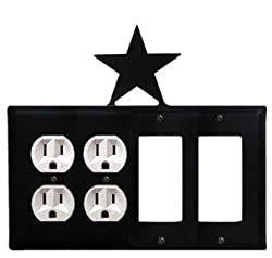 Eoogg-45 Star Double Outlet Double Gfi Electric Switch Wall Plate With Silhouette