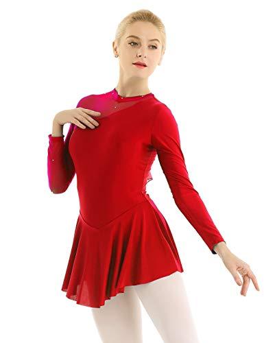 1da4b81b4c Freebily Women Long Sleeve Thermal Figure Ice Skating Dress Ballet Dance  Gymnastics Leotard Red Small