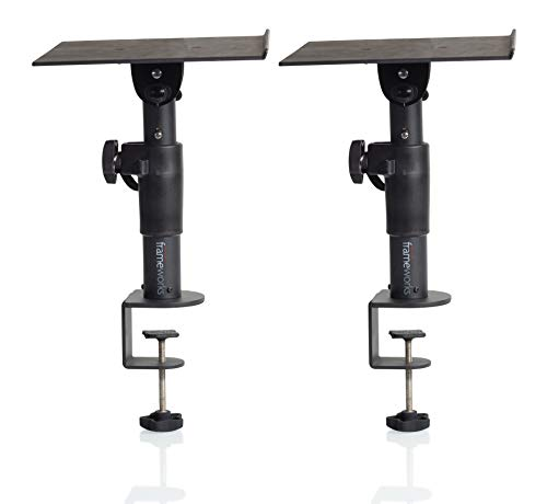 Gator Frameworks Desktop Clamp-On Studio Monitor and Speaker Stand - Set of 2 (GFWSPKSTMNDSKCMP)