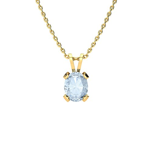 1 Carat Oval Shape Aquamarine Necklace in Yellow Gold Over Sterling Silver, 18 Inches