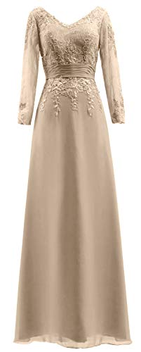 Dress V MACloth The Evening of Sleeves Mother Lace Champagne Long Women Gown Bride Neck zYTqrwz8
