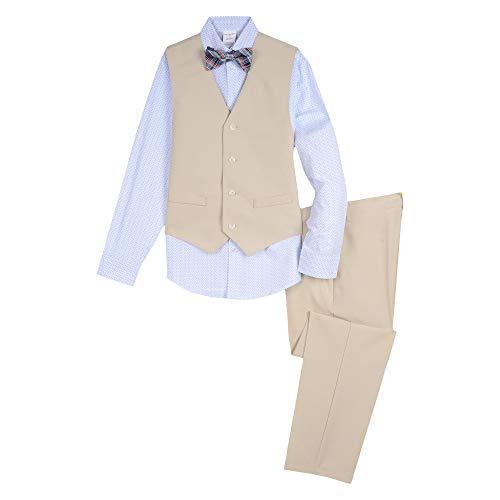 Van Heusen Boys' Big 4-Piece Formal Bow Tie Vest Set, Print Cement 10