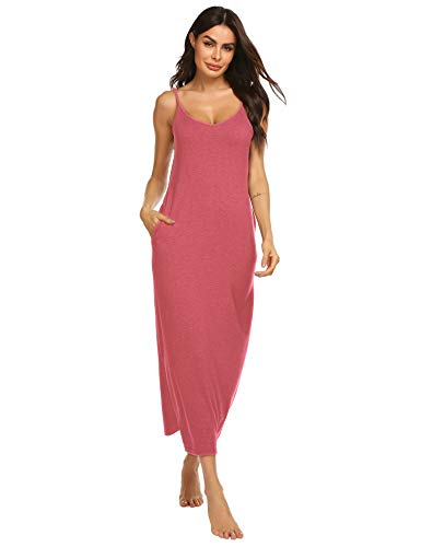 Women's Sexy Nightgown Cotton Spaghetti Strap Slit Full Length Slip (Pink,XL)